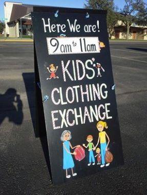 clothing exchange sign